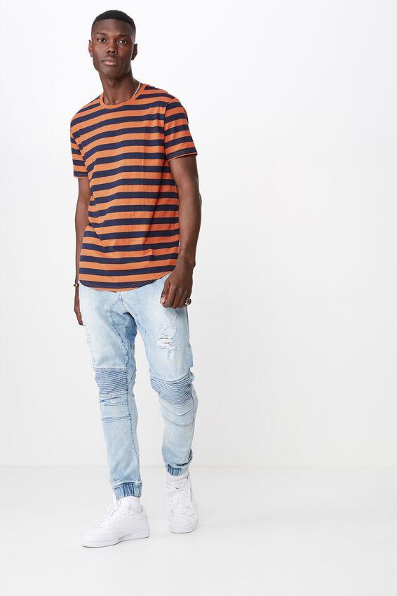 Curved Stripe T Shirt, RUST/BLACK IRIS STRIPE