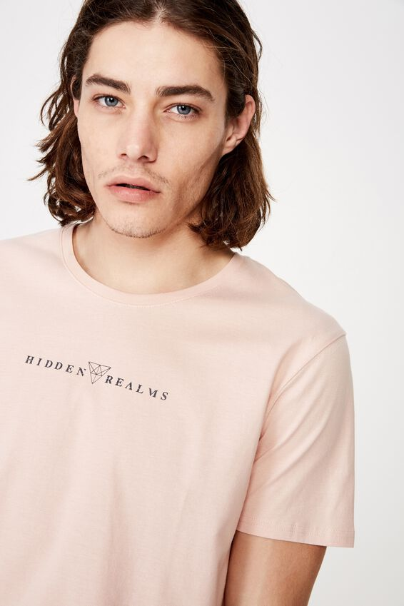 Curved Graphic T Shirt, SANDY PEACH/HIDDEN REALMS