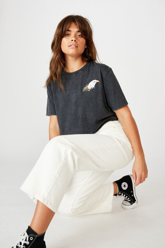 Short Sleeve Raw Edge Crop Graphic T Shirt, WASHED ASPAHLT/EAGLE FLAME