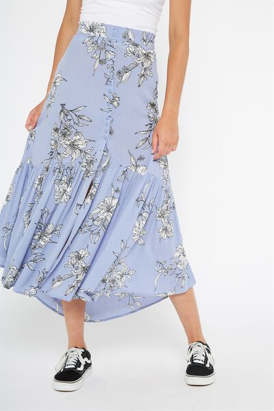 Blossom Button Through Maxi Skirt, MONOTONE FLORAL_PURPLE IMPRESSION