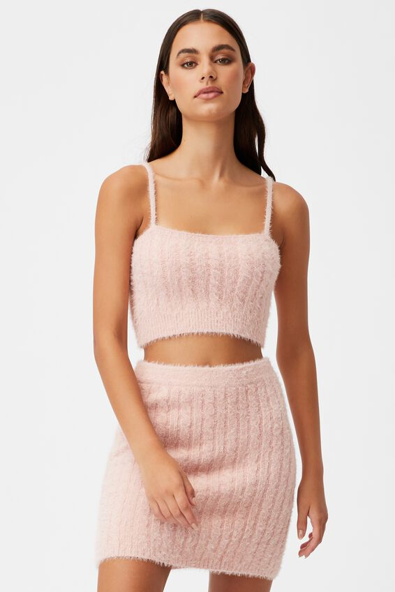 Fluffy Knit Cable Cami, SILVER PINK