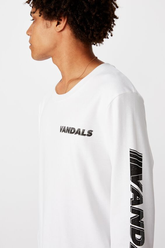 Slim Long Sleeve Graphic T Shirt, WHITE/VANDALS