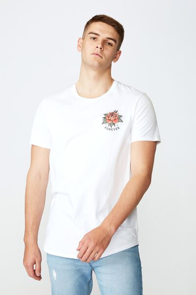 Curved Graphic T Shirt, WHITE/FOREVER