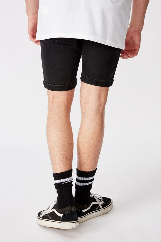 Tapered Denim Short, BLACK