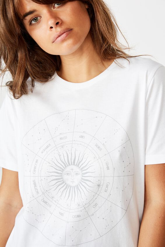 Relaxed Graphic T Shirt, WHITE/ASTRO SUN