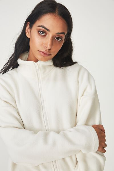Crop Zip Thru Polar Fleece Jacket, CREAM