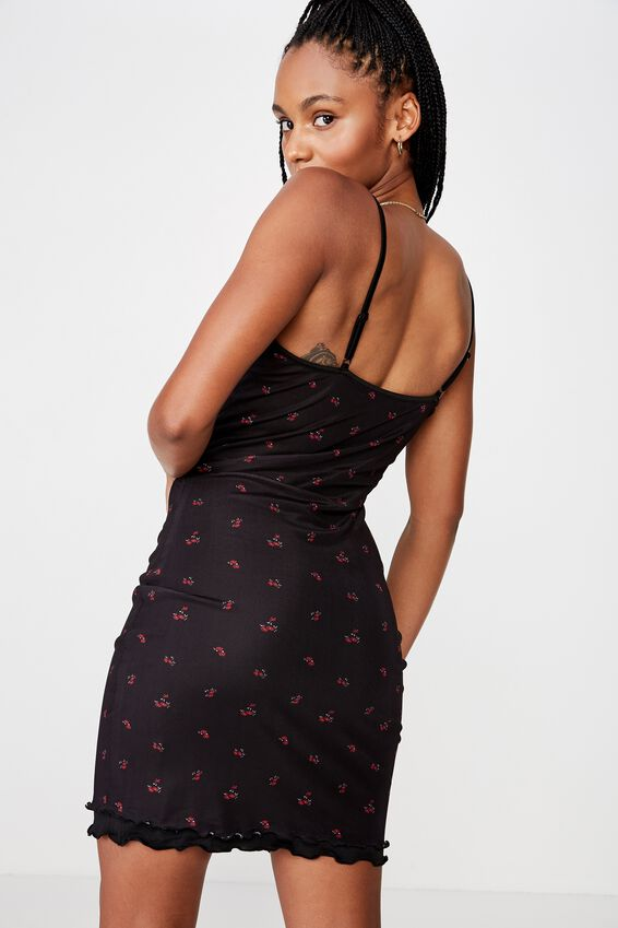 Mesh Mini Dress, BLACK BASE RED DITZY