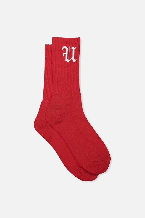 Retro Ribbed Socks, SOLID RED FU