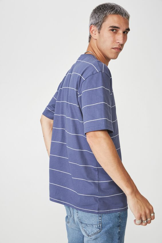 Stripe Pocket T Shirt, WASHED DENIM BLUE/WHITE STRIPE