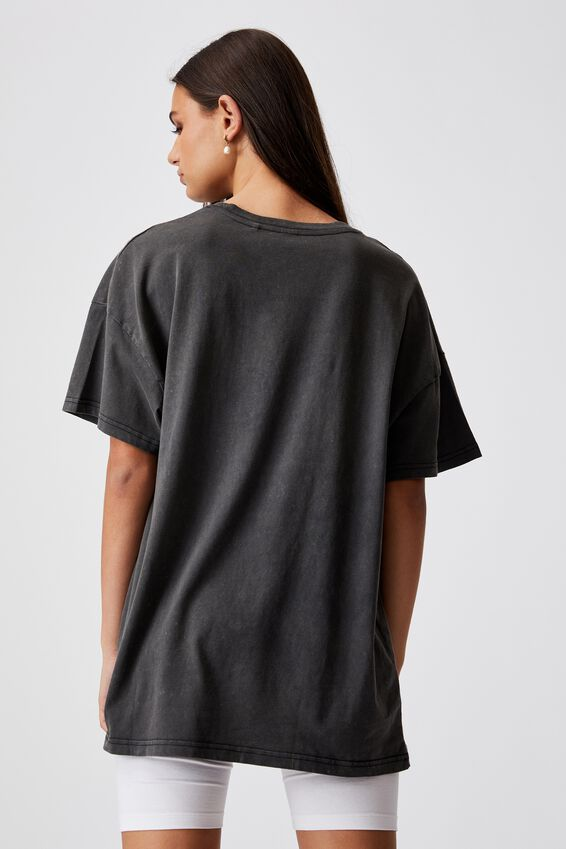 Oversized Graphic T Shirt, WASHED BLACK/MONT BLANC