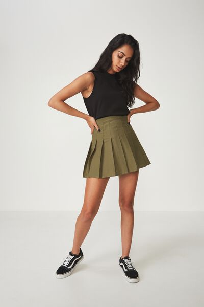 Pleated Skirt, KHAKI