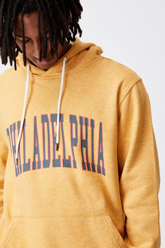 Elite Oversized Hoodie, GOLDEN SAND MARLE/PHILADELPHIA