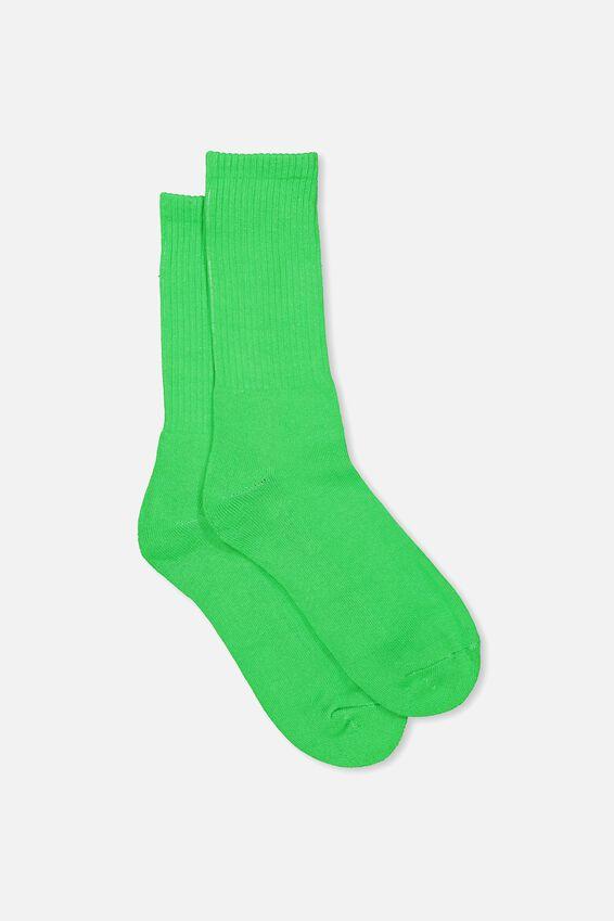 Retro Ribbed Socks, SLD GREEN