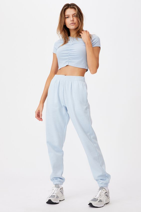 Cinch Front Short Sleeve Top, SKYWAY BLUE