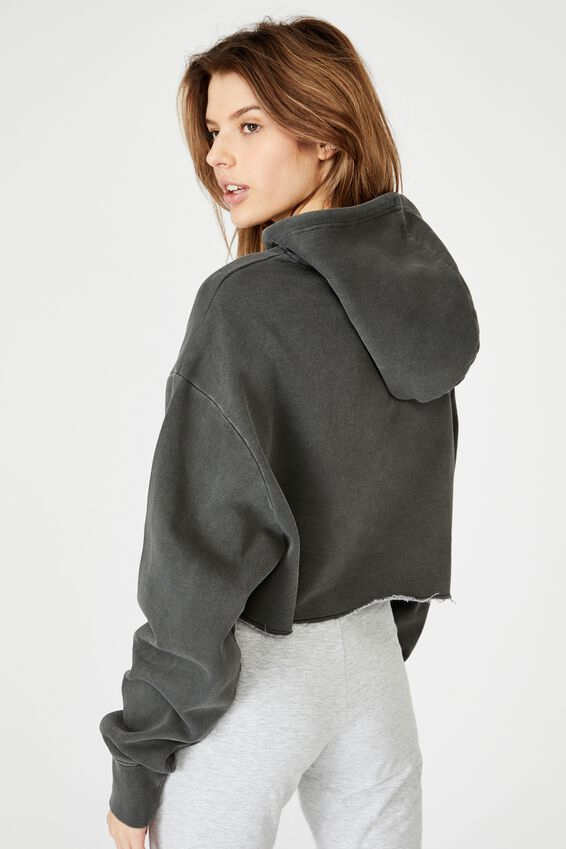 Washed Crop Embroidered Hoodie, WASHED BLACK/SEATTLE