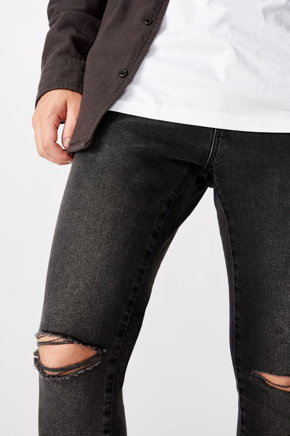 Raw Hem Skinny Leg Jean, WASHED BLACK