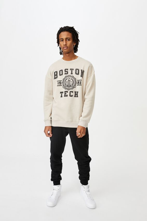 Oversized Graphic Crew, BEIGE/BOSTON TECH