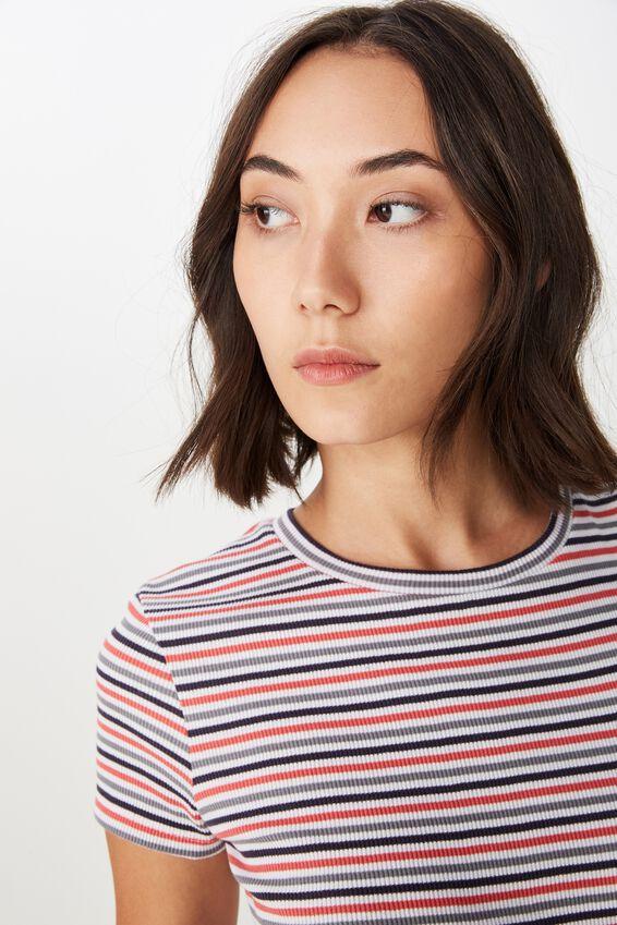 Short Sleeve Rib T Shirt Stripe, LOTTE STRIPE