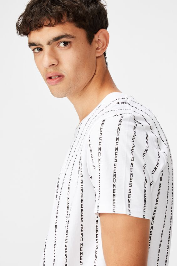 Curved Graphic T Shirt, WHITE/SEND MEMES