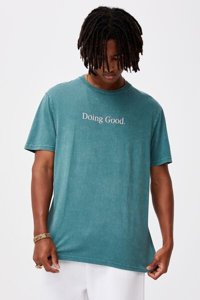 Regular Graphic T Shirt, WASHED PINE TEAL/DOING GOOD