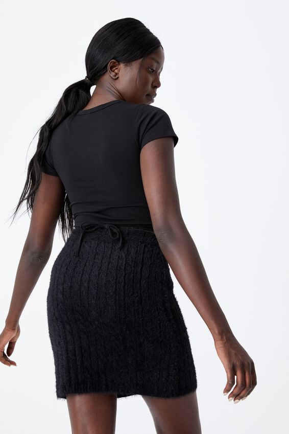Fluffy Knit Cable Mini Skirt, BLACK