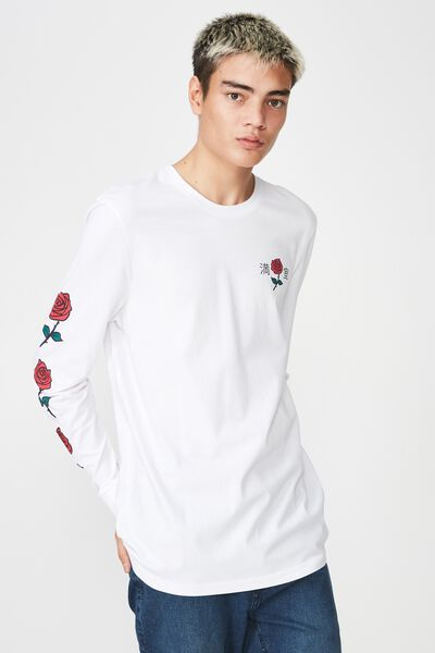 Slim Long Sleeve Graphic T Shirt, WHITE/STAY TRUE