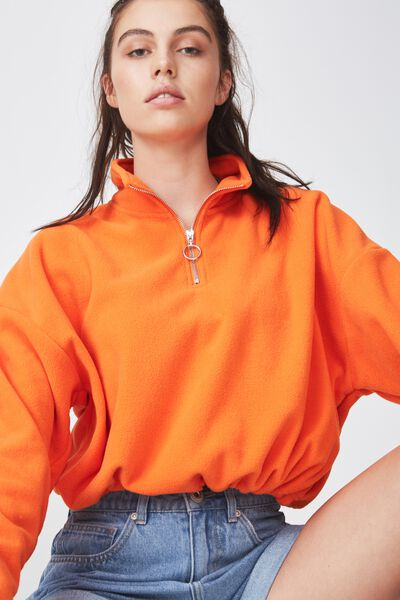 Crop Qtr Zip Polar Fleece, RED ORANGE