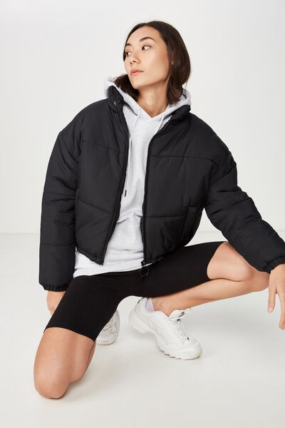 Fashion Puffer Jacket, BLACK