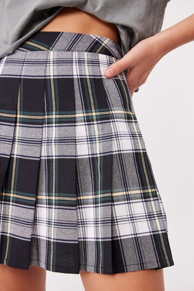 Pleated Skirt, BILLIE CHECK NAVY