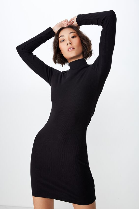 Rib Roll Neck Long Sleeve Dress, BLACK