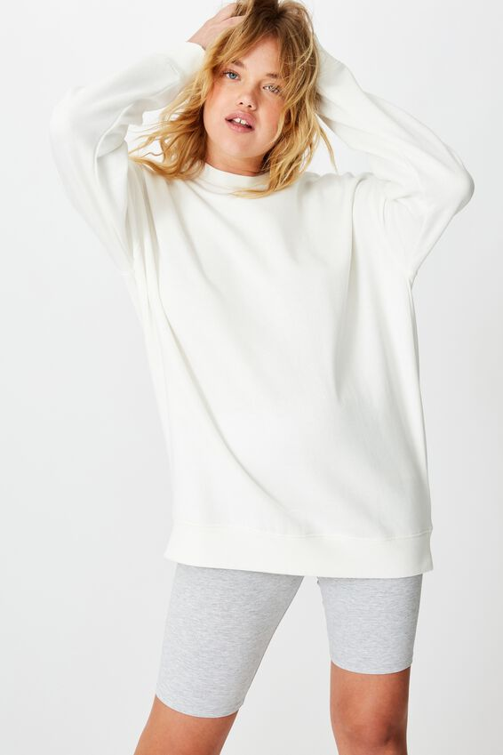 Oversized Crew Neck Sweater, WHITE