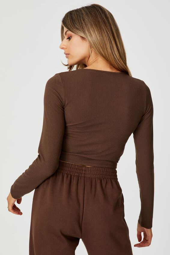 Long Sleeve Pull Front Top, CHOCOLATE