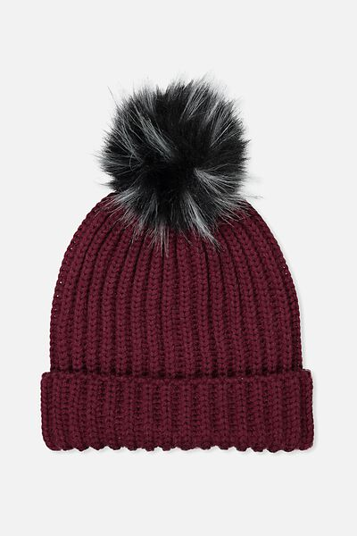Pom Pom Beanie, PURPLE POTION