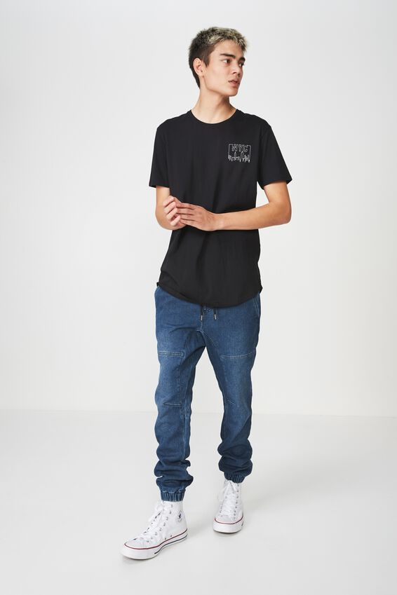 Curved Graphic T Shirt, BLACK/WELCOME