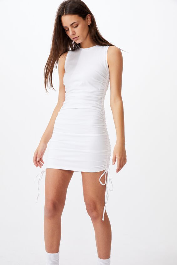Ruched Sleeveless Dress, WHITE
