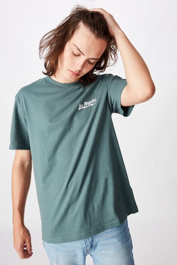 Regular Graphic T Shirt, FOREST GREEN/LOS LIGHTNING