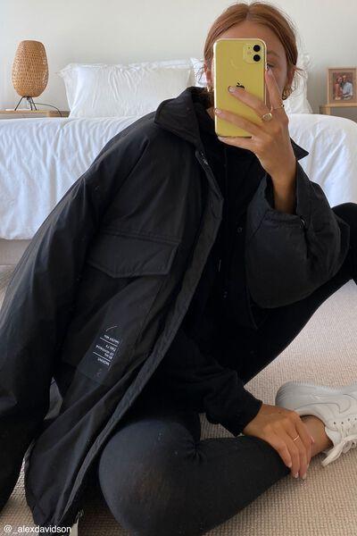Oversized Padded Jacket, BLACK