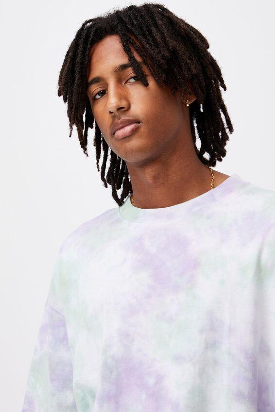Relaxed Tie Dye T Shirt, MINT GRAPE TIE DYE