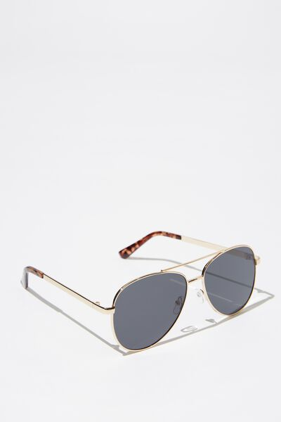 Metal Aviator Sunglasses, GOLD_SMK
