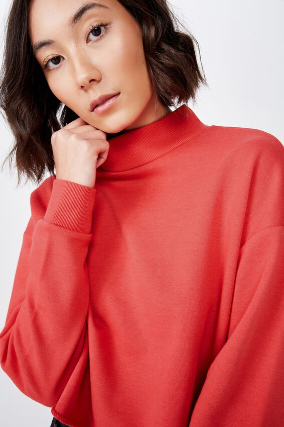 Mock Neck Raw Edge Jumper, WASHED TOMATO