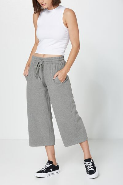 Toronto Wide Leg Trackpant, DARK GREY MARLE