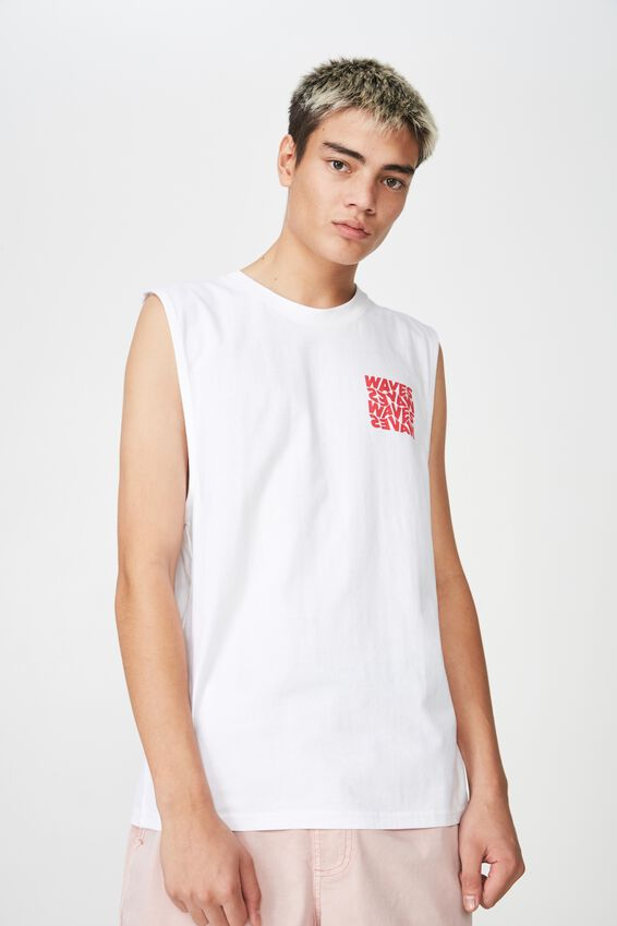 Graphic Muscle Tank, WHITE/WAVES