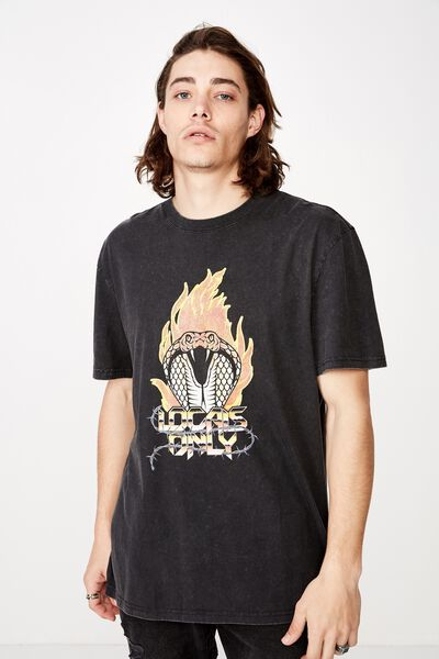Regular Graphic T Shirt, WASHED BLACK/LOCAL SNAKES
