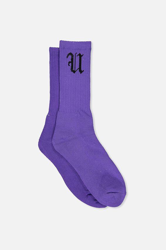 Retro Ribbed Socks, SOLID PURPLE FU