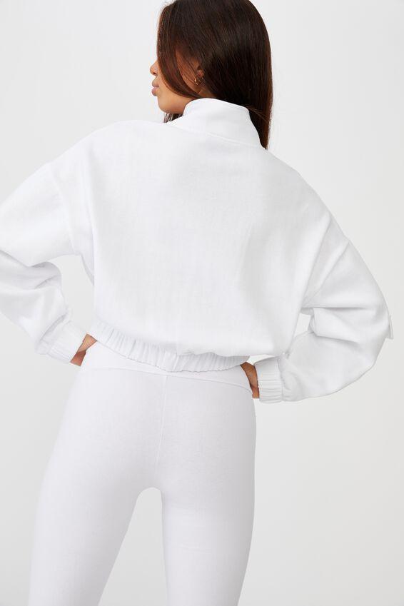 Qtr Zip Elastic Hem Fleece Top, WHITE/CITIES