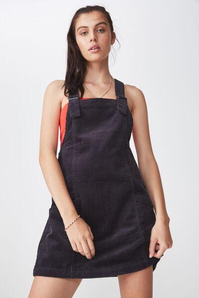 Cord Overall Dress, SLATE