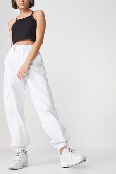Urban Utility Pocket Pant, WHITE