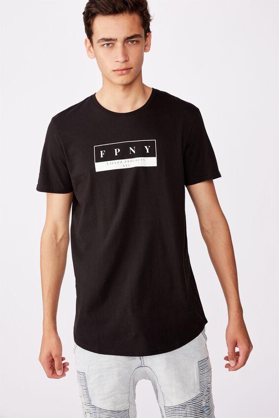 Curved Graphic T Shirt, BLACK/BLEECKER