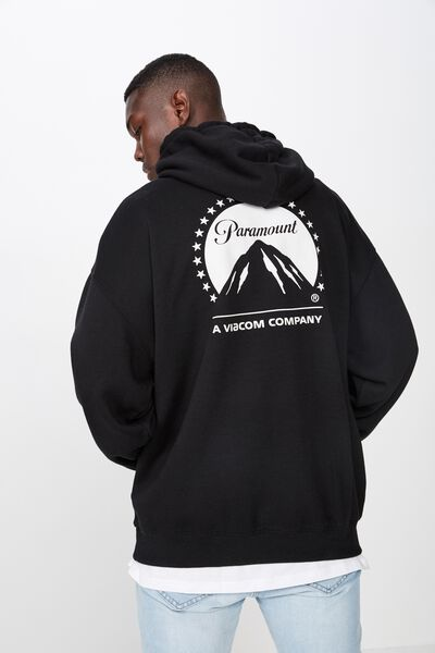 License Oversized Graphic Hoodie, BLACK/PARAMOUNT
