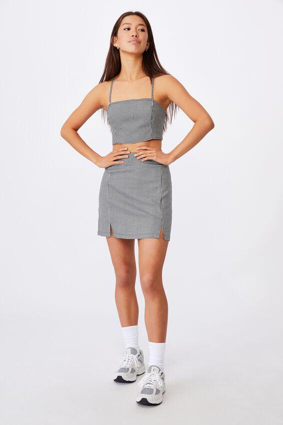 Double Split Mini Skirt, BLACK GINGHAM